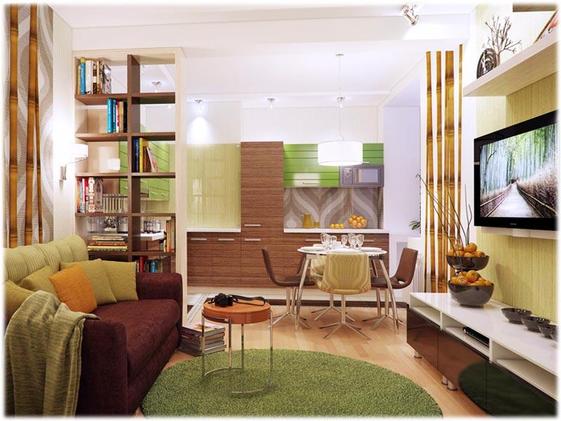Дизайн зала и спальни в одной комнате