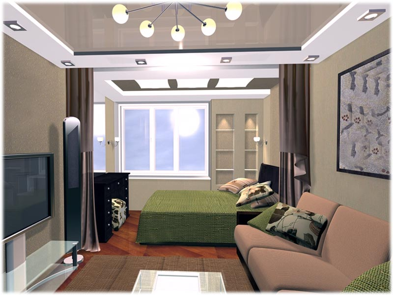 Дизайн спальни и гостиной в одной комнате 18 кв.м